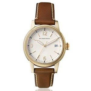 ⚜️Burberry Utilitarian Leather Gold Tone Watch!⚜️